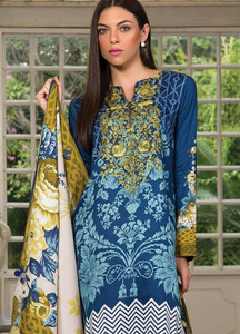 Orient Textile Embroidered Linen Unstitched 3 Piece Suit OT18W 233B Baroque Floral - Winter Collection