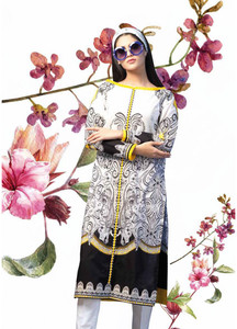 Gul Ahmed Printed Lawn Unstitched Kurties GAB19L SL-656A - Spring / Summer Collection