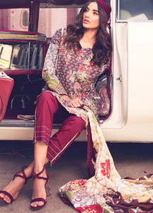 Rang Rasiya Embroidered Lawn Unstitched 3 Piece Suit RU18L 1B - Spring / Summer Collection
