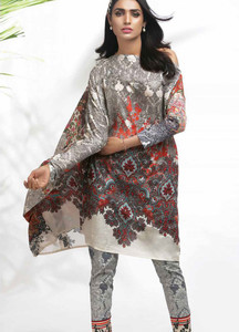 Al Karam Printed Lawn Unstitched 2 Piece Suit AK18L2 G24 RED - Spring / Summer Collection