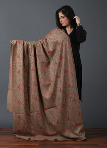Sanaulla Exclusive Range Pashmina Embroidered Shawl 524 - Kashmiri Shawls