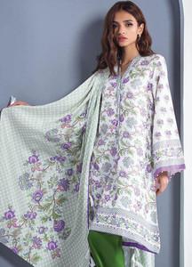 Orient Textile Printed Linen Unstitched 3 Piece Suit OT18W 262B Portrait Red - Winter Collection