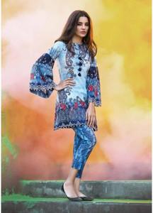 Al Karam Printed Lawn Unstitched 2 Piece Suit AK18L SS-61 BLUE - Spring / Summer Collection