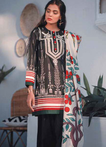 Cross Stitch Embroidered Lawn Unstitched 3 Piece Suit CS19-L2 14 SYLVAN EBONY - Spring / Summer Collection