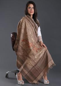 Sanaulla Exclusive Range Embroidered Pashmina Shawl 168 - Kashmiri Shawls