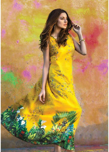 Al Karam Printed Lawn Unstitched 2 Piece Suit AK18L SS-62 YELLOW - Spring / Summer Collection