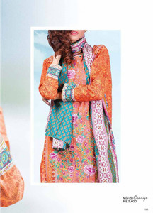 Al Karam Embroidered Cotton Unstitched 2 Piece Suit AK17E 28 Orange