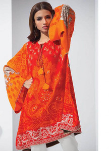 Orient Textile Embroidered Linen Unstitched Kurties OT18W 231B Earthy - Winter Collection