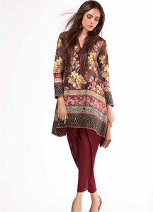 Al Karam Embroidered Linen Unstitched 2 Piece Suit AK17W 61 Brown