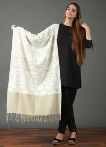 Sanaulla Exclusive Range Pashmina Embroidered Shawl 484 - Kashmiri Shawls