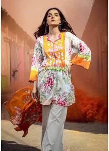 Al Karam Printed Lawn Unstitched 2 Piece Suit AK18L SS-72 ORANGE - Spring / Summer Collection
