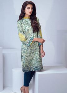 Al Karam Embroidered Lawn Unstitched Kurties AK19L SS-79.1-19 Green - Spring / Summer Collection