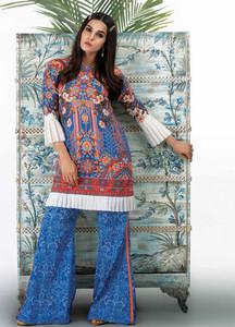 Al Karam Printed Lawn Unstitched 2 Piece Suit AK18L2 G22 BLUE - Spring / Summer Collection