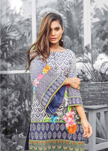 Al Karam Embroidered Cotton Unstitched 1 Piece Suit AK17E 44 Blue