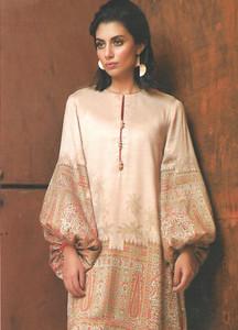 Al Karam Printed Viscose Unstitched Kurties AK18W FW 02 BEIGE - Winter Fashion