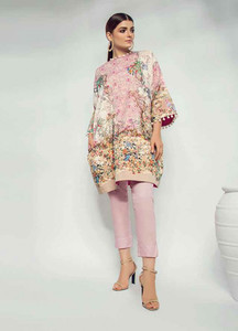 Al Karam Printed Lawn Unstitched Kurties AK19L SS-70-19 Pink - Spring / Summer Collection