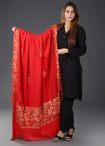 Sanaulla Exclusive Range Pashmina Embroidered Shawl 437 - Kashmiri Shawls