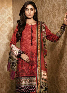 Al Karam Embroidered Viscose Unstitched 3 Piece Suit AK18W FW 19.1 RED - Winter Fashion