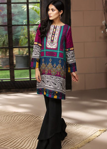 732dc9fd9f03 LimeLight Printed Khaddar Unstitched Kurties LL18-W3 468 Blue - Winter  Collection