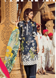 Cross Stitch Embroidered Lawn Unstitched 3 Piece Suit CS18L CLUSTER BAND - Spring / Summer Collection