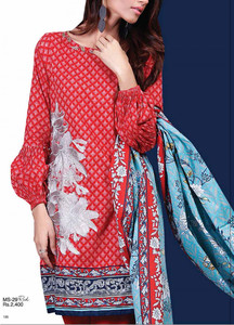 Al Karam Embroidered Cotton Unstitched 2 Piece Suit AK17E 29 Red