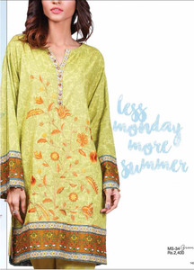 Al Karam Embroidered Cotton Unstitched 2 Piece Suit AK17E 34 Green