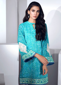 Al Karam Embroidered Lawn Unstitched Kurties AK19L SS-79.1-19 Blue - Spring / Summer Collection