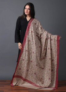 Sanaulla Exclusive Range Pashmina Embroidered Shawl 493 - Kashmiri Shawls
