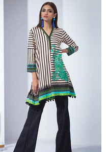 Orient Textile Embroidered Linen Unstitched Kurties OT18W 225B Bold Striped - Winter Collection