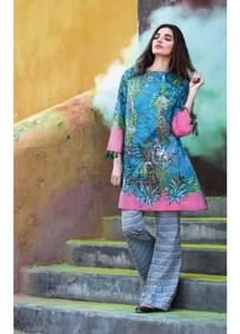 Al Karam Printed Lawn Unstitched 2 Piece Suit AK18L SS-63 BLUE - Spring / Summer Collection