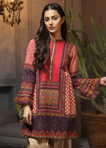 39bb0b532337 LimeLight Printed Khaddar Unstitched Kurties LL18W 471 Red - Winter  Collection