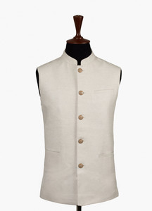 Brumano Cotton Formal Men Waistcoat - Cream BRM-546