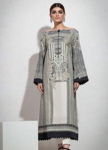 Al Karam Printed Lawn Unstitched 2 Piece Suit AK19L SS-75.1-19 Black - Spring / Summer Collection
