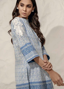 Al Karam Embroidered Lawn Unstitched Kurties AK19L SS-63.1-19 Blue - Spring / Summer Collection