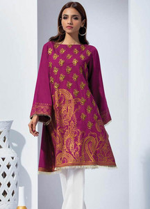 Orient Textile Embroidered Karandi Unstitched Kurties OT18W 234B Paisley Charm - Winter Collection