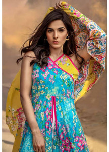Al Karam Printed Lawn Unstitched 2 Piece Suit AK18L SS-72 TURQUOISE - Spring / Summer Collection