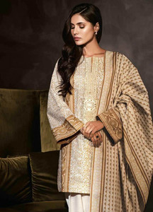 Al Karam Embroidered Khaddar Unstitched 2 Piece Suit AK18W FW 62.1 MUSTARD - Winter Fashion