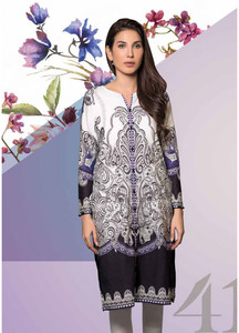 Gul Ahmed Printed Lawn Unstitched Kurties GAB19L SL-656B - Spring / Summer Collection