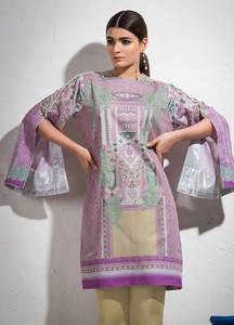 Al Karam Printed Lawn Unstitched 2 Piece Suit AK19L SS-75.1-19 Purple - Spring / Summer Collection