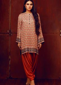 Al Karam Printed Viscose Unstitched Kurties AK18W FW 50.1 RED - Winter Fashion
