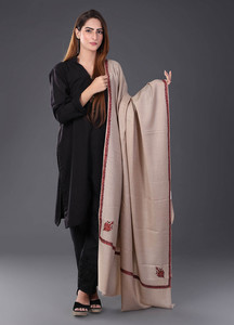 Sanaulla Exclusive Range Pashmina Embroidered Shawl 457 - Kashmiri Shawls