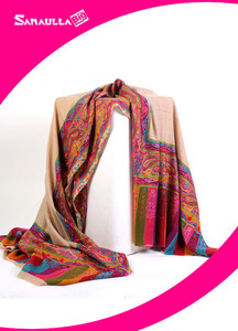 Sanaulla Exclusive Range Pashmina Embroidered Shawl 328 - Kashmiri Shawls