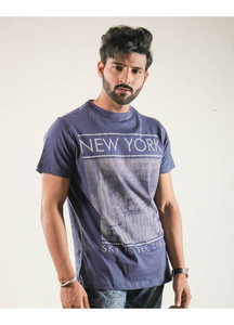 Red Tree Cotton Round Neck Men T-Shirts - Blue RT1542