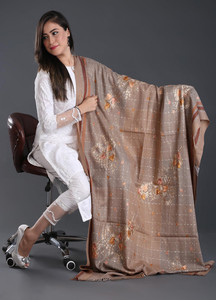 Sanaulla Exclusive Range Embroidered Pashmina Shawl 122 - Kashmiri Shawls