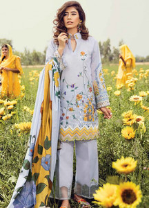 Cross Stitch Embroidered Lawn Unstitched 3 Piece Suit CS18E 12 - Eid Collection