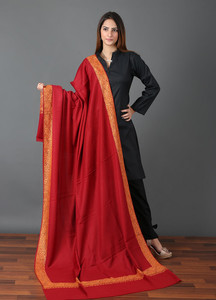 Sanaulla Exclusive Range Pashmina Embroidered Shawl 657 - Kashmiri Shawls