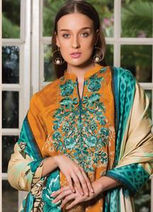 Orient Textile Embroidered Linen Unstitched 3 Piece Suit OT18W 233A Baroque Floral - Winter Collection