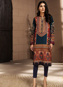 294b6450c25 LimeLight Printed Khaddar Unstitched Kurties LL18-W3 447 Red - Winter  Collection