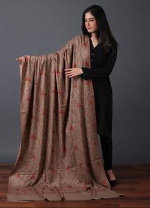 Sanaulla Exclusive Range Pashmina Embroidered Shawl 522 - Kashmiri Shawls