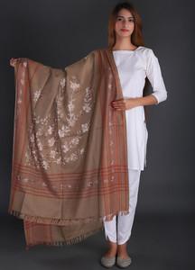 Sanaulla Exclusive Range Embroidered Pashmina Shawl 03 - Formal Collection